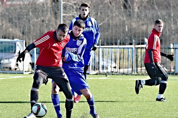 Šaľa prehrala s Trnavou 0:3. Celkom vpravo nová posila Spartaka, odchovanec Nitry Róbert Jež.