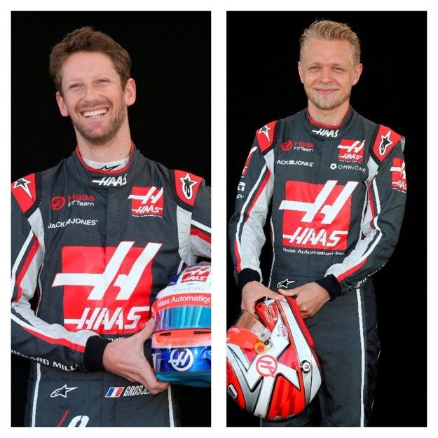 Francúz Romain Grosjean (vľavo) a Dán Kevin Magnussen.