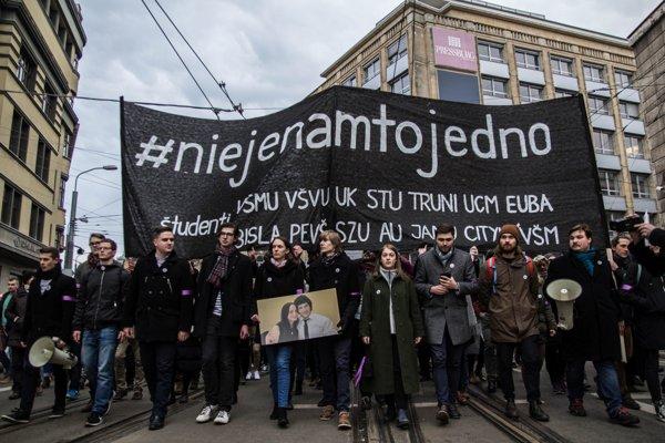 Protest v Bratislave proti vláde.
