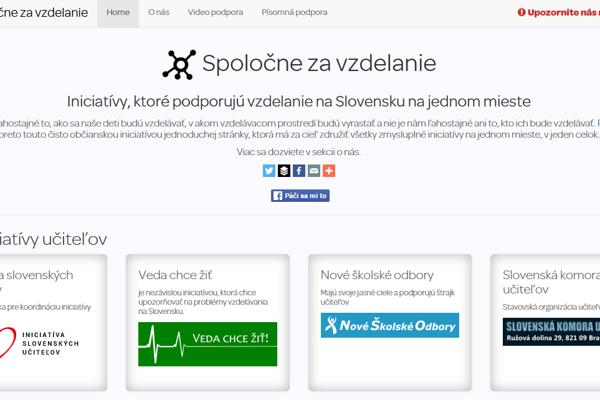 Web nového projektu Spoločne za vzdelanie.