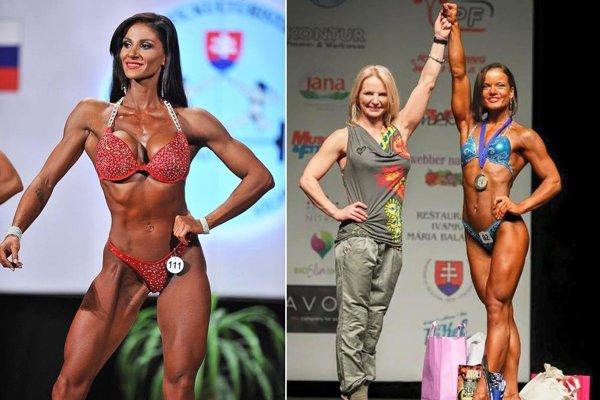 Horúcim želiezkom vohni bude Nitrianka Olívia Čambalová (vľavo) vkategórii bikini fitness do 169 cm. Na druhej snímke Iveta Chrťanová a Elena Masaryková.
