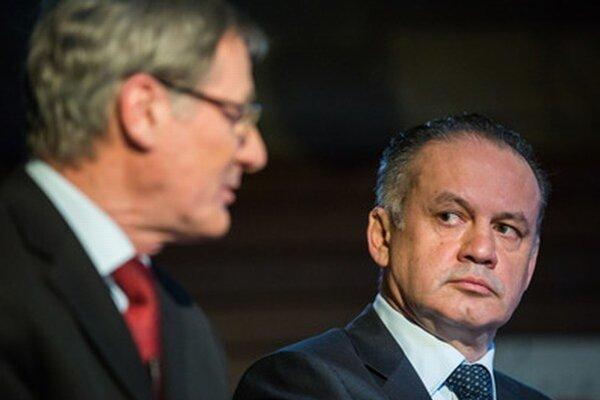 Andrej Kiska (vpravo) na prezidentskej debate SME a Trendu.