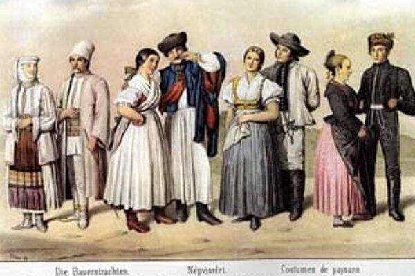 Dobová ilustrácia znázorňujúca národnosti žijúce v Uhorsku.
