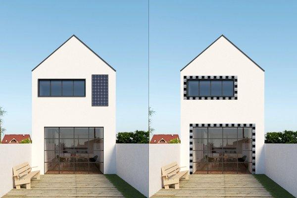 Fotovoltická fasáda - klasická a s kachličkami