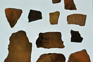 Črepy z 10.-11. storočia objavené v zahĺbenom objekte vo východnej časti hradiska.
