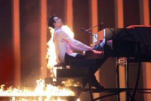 Spevák Melovin z Ukrajiny počas svojho vystúpenia.