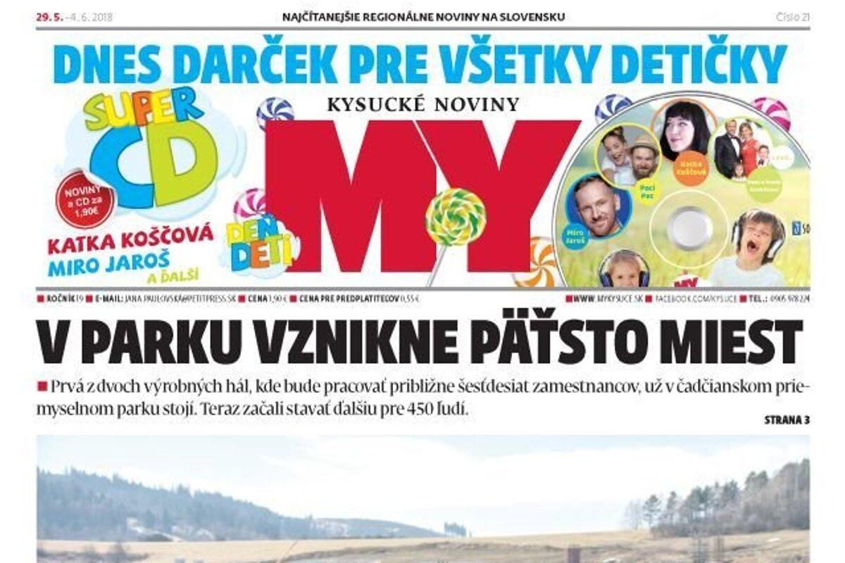 8c951f479a73 MY Kysucké noviny s darčekom pre deti aj prílohou k MS vo futbale - SME