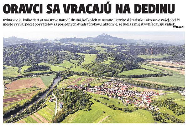 Z titulnej strany týždenníka MY Oravské noviny.
