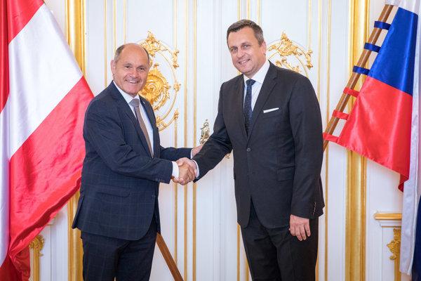 Predseda Národnej rady Rakúska Wolfgang Sobotka a predseda slovenskej Národnej rady Andrej Danko.