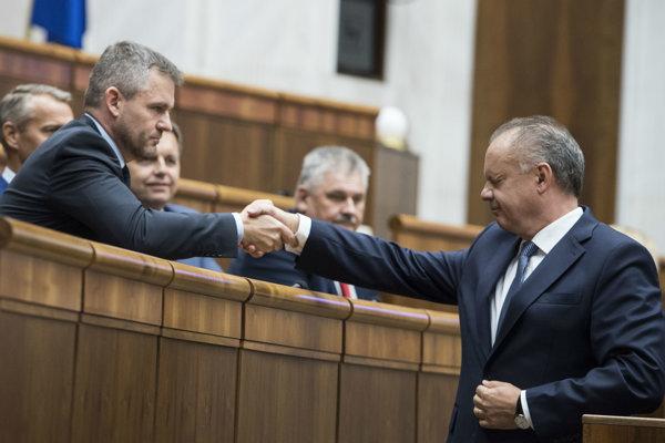 Premiér Peter Pellegrini a prezident Andrej Kiska.