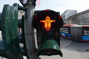 Postavička Karla Marxa na semafore v jeho rodnom meste Trier/Nemecko