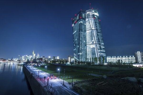 Budova Európskej centrálnej banky vo Frankfurte nad Mohanom.