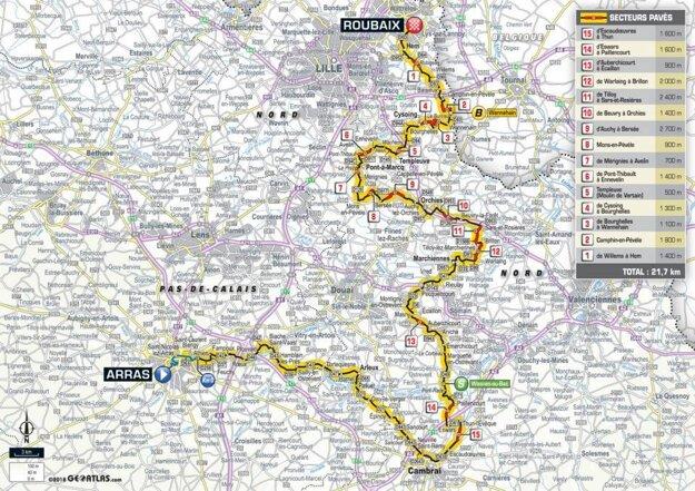 Mapa 9. etapy Tour de France 2018.