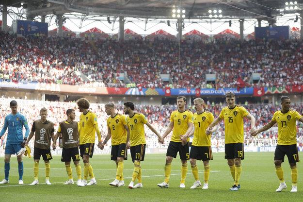Futbalisti Belgicka oslavujú svoje druhé víťazstvo na šampionáte.