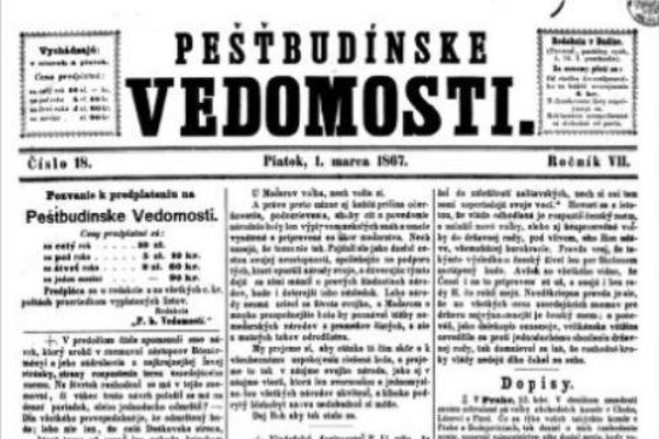 Jedno zo starších vydaní novín Pešťbudínske vedomosti.