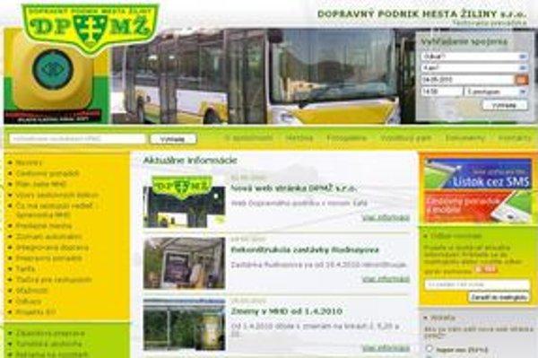 Screenshot z novej webstránky dopravného podniku.