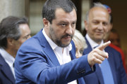 Taliansky minister vnútra a šéf strany Liga Severu Matteo Salvini.