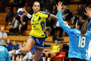 Mária Holešová vzápase proti Šali. Vnasledujúcej sezóne už bude čeliť protihráčkam vchorvátskej lige.