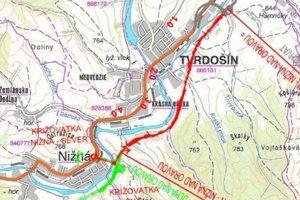 Červenou farbou je vyznačená trasa tvrdošínskeho obchvatu.