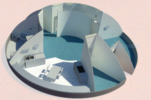 5. miesto: Návrh od univerzity Northwestern v Evanstone. 3D tlačiareň bude umiestnená v nafukovacej tlakovej nádobe. Vonkajší obal domu sa vytvorí z marťanskej kôry. Všetky