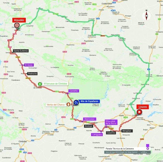 Mapa 8. etapy pretekov Vuelta 2018.