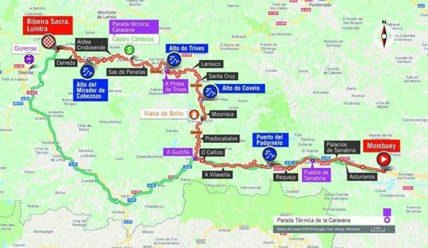 Mapa 11. etapy pretekov Vuelta 2018.
