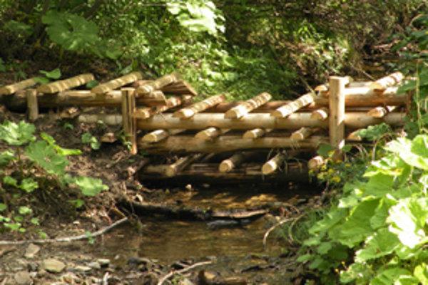 Hrádze spomalia vodu v horskom teréne.