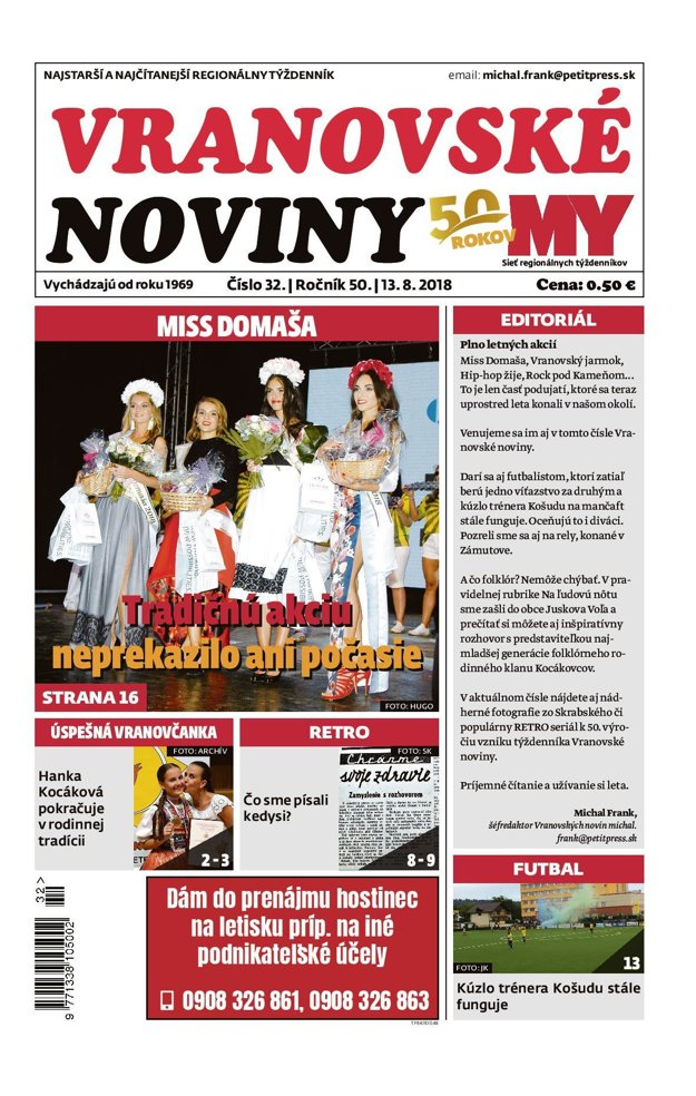 Titulná strana týždenníka Vranovské noviny č. 32/2018.