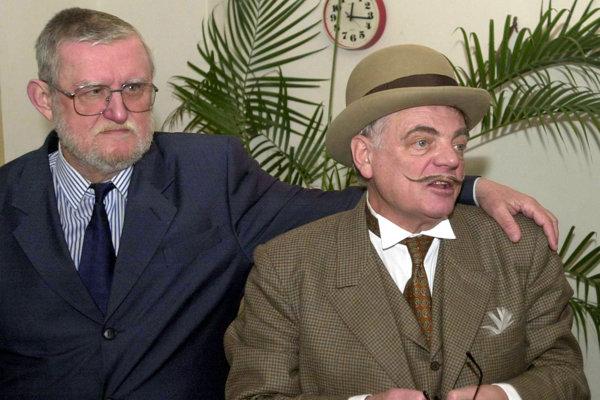 Herec Stano Dančiak (vpravo) s Ľubomírom Feldekom (vľavo).