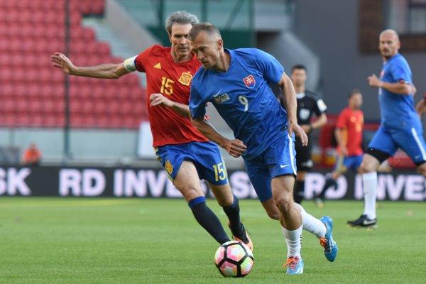Vladimír Janočko predviedol svoje futbalové umenie aj počas  minuloročného duelu slovenských a španielskych legiend nad 35 rokov v Trnave.