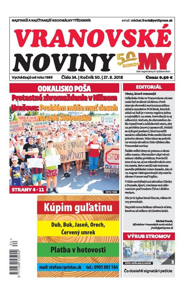 Titulná strana týždenníka Vranovské noviny č. 34/2018.