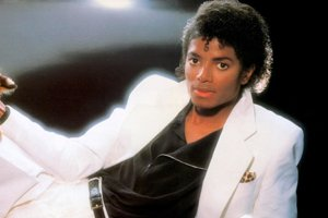 Michael Jackson pri fotení obalu platne Thriller.