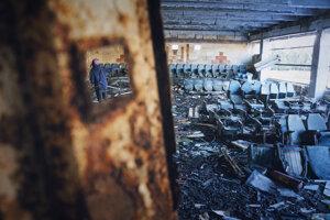 Opustená budova v Arménsku po zemetrasení.