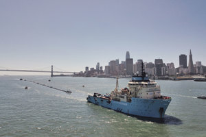 Systém Ocean Cleanup vypustili na oceán v sobotu ôsmeho septembra.