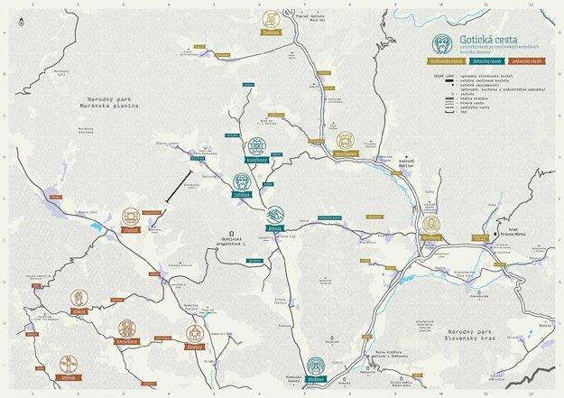 Mapa Gotickej cesty.