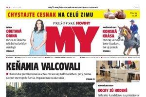Titulná strana týždenníka MY Prešovské noviny č. 37/2018.