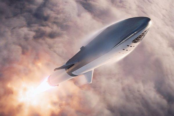Ilustračné foto. Vizualizácia rakety BFR, ktorá poletí okolo Mesiaca a má dostať ľudí aj k Marsu.