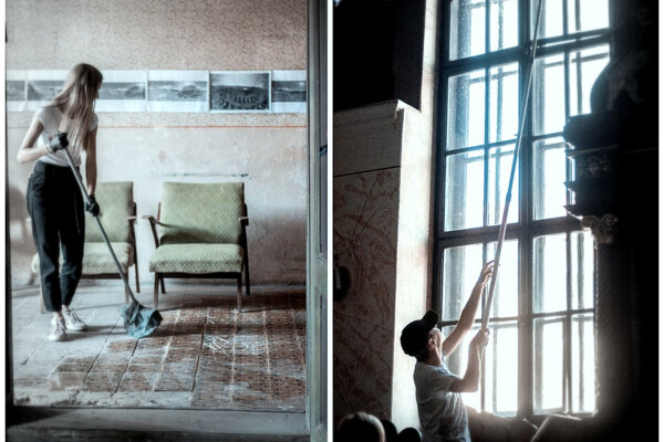 Bardejovskí študenti upratovali synagógu Bikur Cholim. Spomínali aj na Krištáľovú noc pred 80-rokmi. (FOTO: PATRIK KOKINDA)