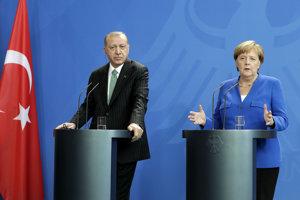 Turecký prezident Recep Tayyip Erdogan a nemecká kancelárka Angela Merkelová,