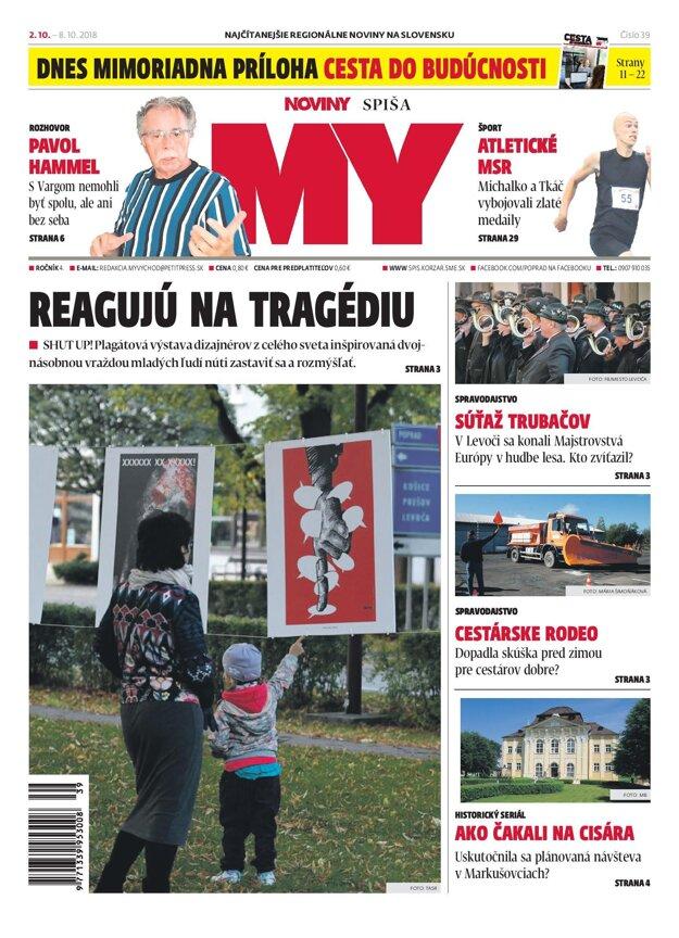 Titulná strana týždenníka MY Noviny Spiša č. 39/2018.