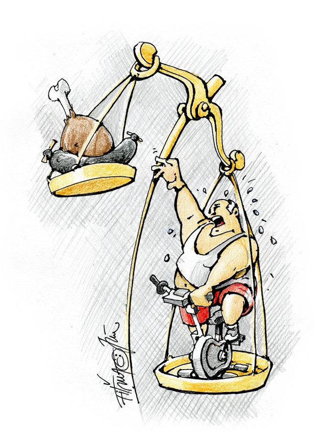 Víťazná karikatúra Jána Fiťmu nazvaná Motivácia.