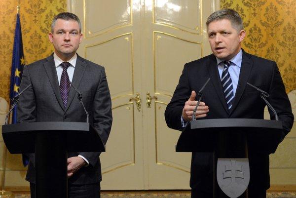 Predseda parlamentu Peter Pellegrini (vľavo) a predseda vlády Robert Fico.
