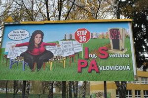 Bilbord proti Svetlane Pavlovičovej.