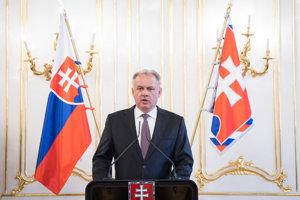 Prezident SR Andrej Kiska počas vyjadrenia ku komunálnym voľbám v Prezidentskom paláci.