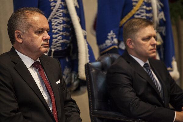 Prezident Andrej Kiska a premiér Fico.