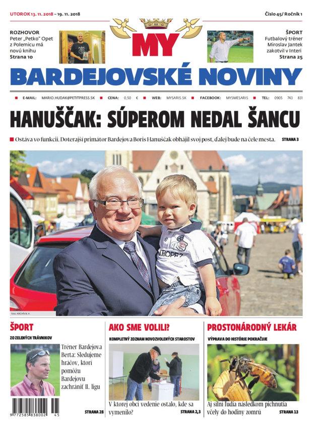 Titulka nového vydania týždenníka MY Bardejovské noviny č.46