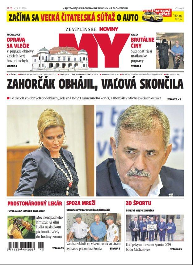 Titulka nového vydania týždenníka MY Zemplínske noviny č.46