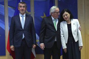 Andrej Babiš, Jean-Calude Juncker a Věra Jourová.