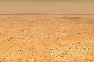 Umelecké zobrazenie planiny Elysium Planitia na Marse, kde sonda InSight pristane.