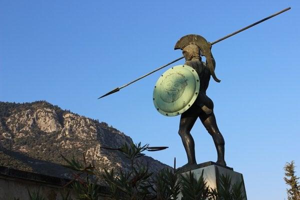 Socha kráľa Leónidasa v Sparte.